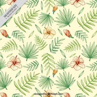 Hand drawn floral background with palm leaves