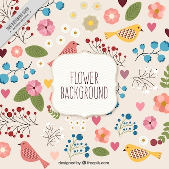 Hand drawn floral bakground with birds