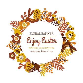 Hand drawn floral banner for Easter day in brown tones