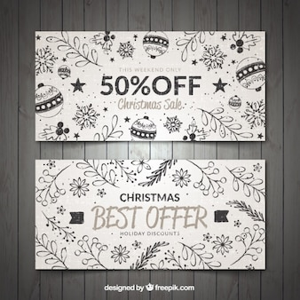 Hand drawn floral banners for christmas discounts