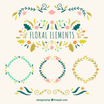 Hand drawn floral elements and flower wreaths