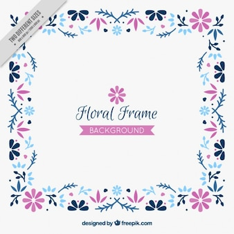 Hand drawn floral frame background