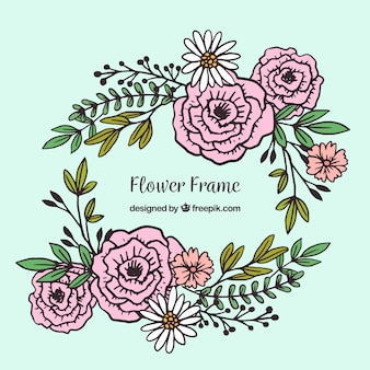 Hand drawn floral frame with roses and daisies