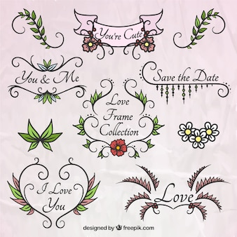 Hand drawn floral frames for wedding