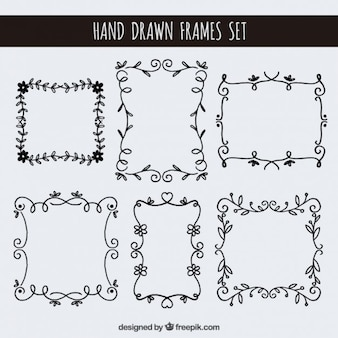 Hand drawn floral frames set