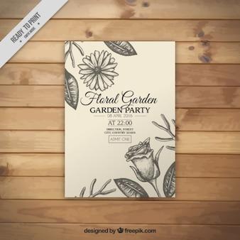 Hand drawn floral garden party invitation