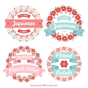 Hand drawn floral japanese labels with ribbons in vintage style