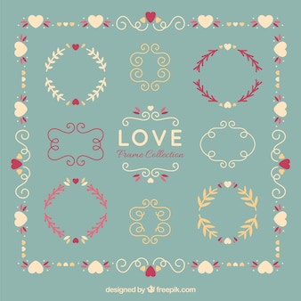 Hand drawn floral love frames set