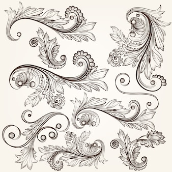 Hand-drawn floral ornaments in antique style