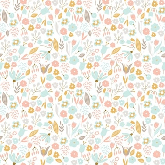 Hand drawn floral pattern in pastel colors