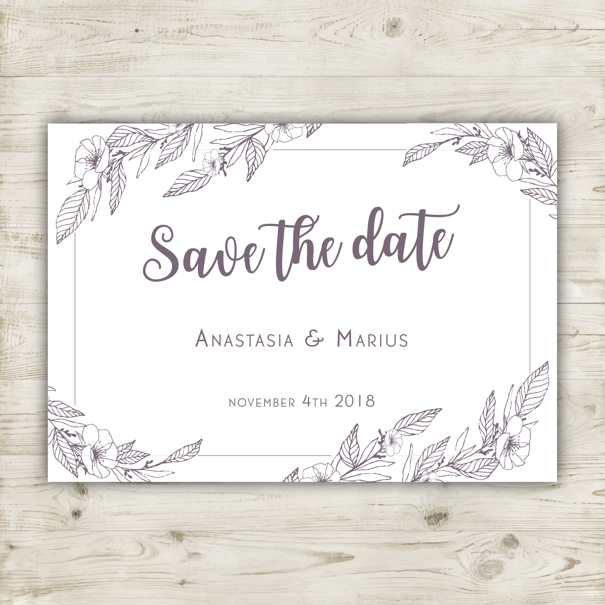 Hand drawn floral save the date card