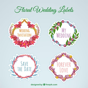 Hand drawn floral wedding label collection