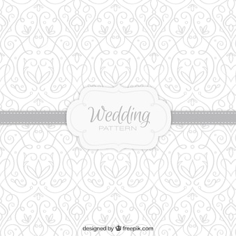 Hand drawn floral wedding pattern in grey color