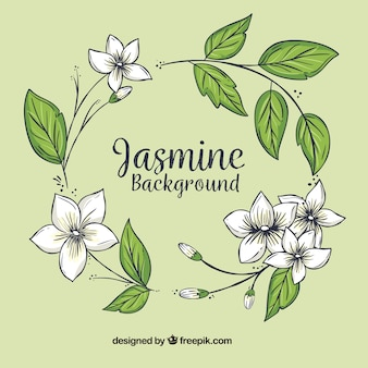 Hand drawn floral wreath background with leaves