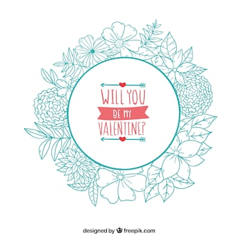 Hand drawn floral wreath background with love message
