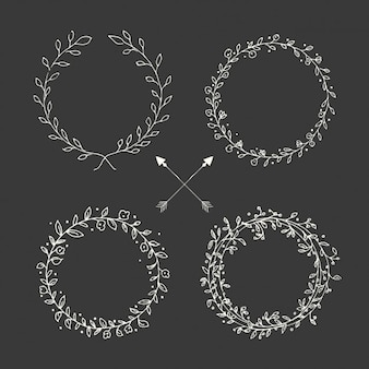 Hand drawn floral wreath collection