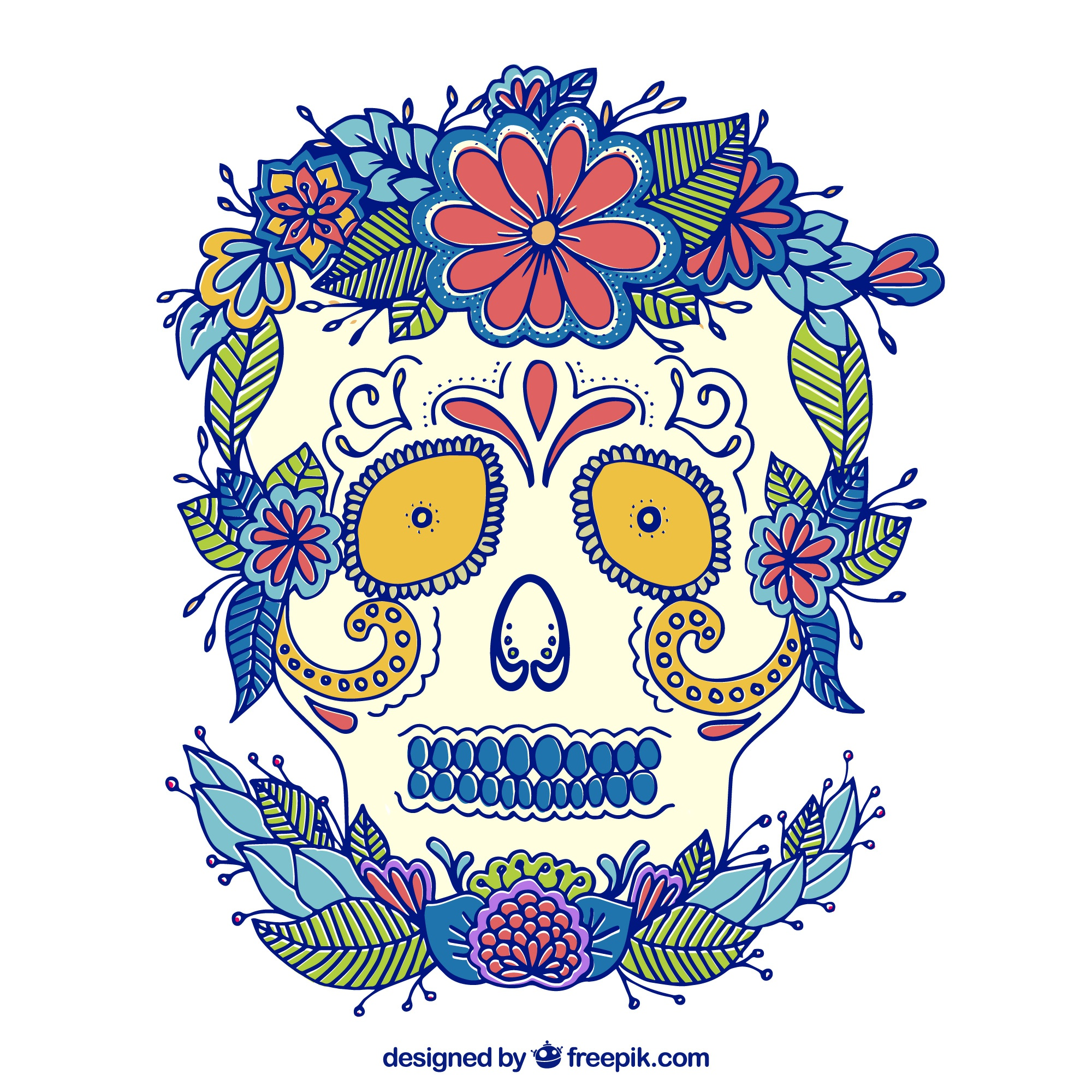Hand drawn florid mexican skull