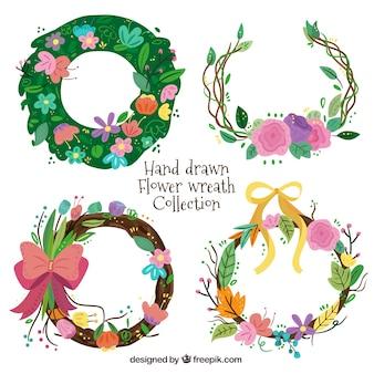 Hand drawn flower wreath set
