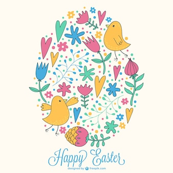 Hand-drawn flowers, hearts and birds in an Easter card