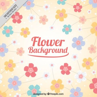 Hand drawn flowers background
