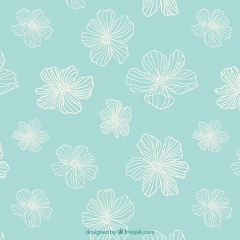 hand drawn flowers blue background
