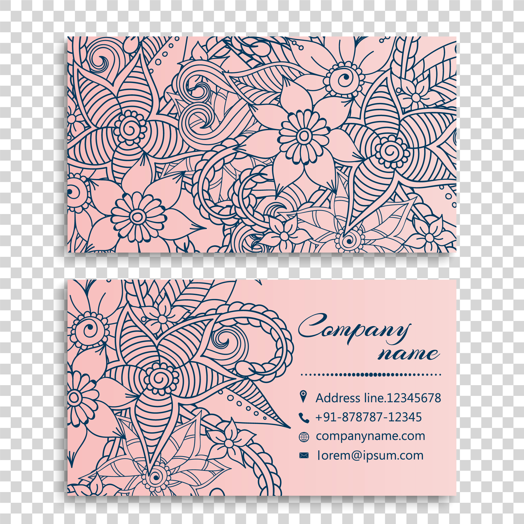 Hand drawn flowers business card