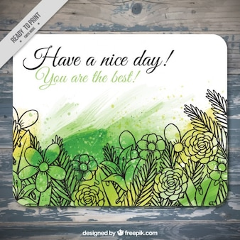 Hand drawn flowers card in watercolor effect