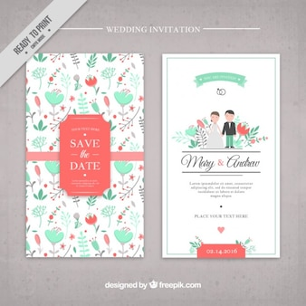 手描きの花かわいい結婚式の招待状