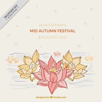 Hand drawn flowers mid autumn festival background