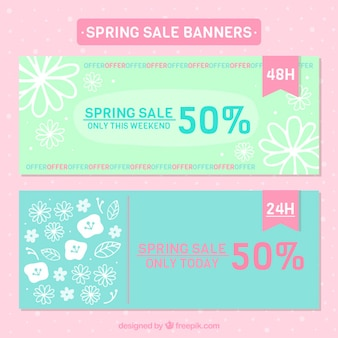 Hand drawn flowers sale banners