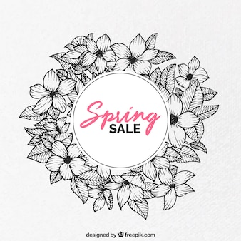 Hand drawn flowery spring sale