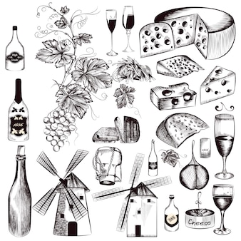 Hand drawn food elements