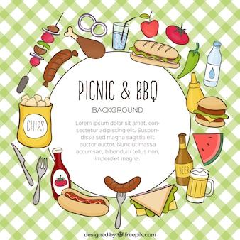 ピクニックやバーベキューの背景の手描き食品