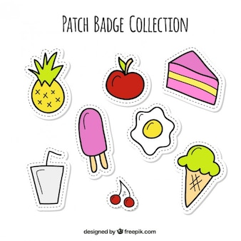 Hand drawn food patches set