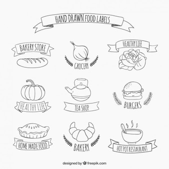 Hand drawn food stickers
