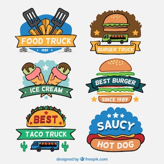 Hand drawn food truck logos