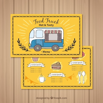 Hand drawn food truck menu with coffe and cake