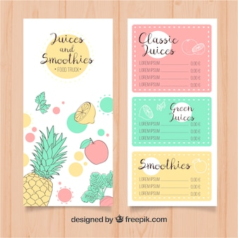 Hand drawn food truck menu with fruits