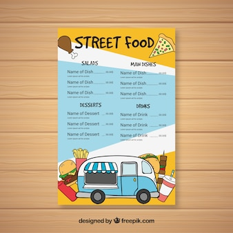 ファーストフードの様々な手描きの食品トラックのメニュー