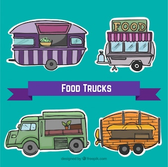 Hand drawn food trucks labels set