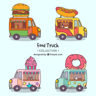 Hand drawn food trucks with fun style