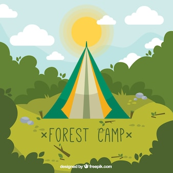 Hand drawn forest camp in green tones