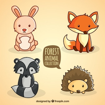 Hand drawn forest sitting animal collection