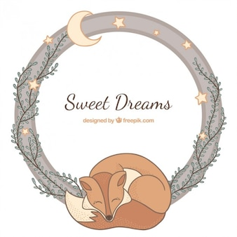 Hand drawn fox sleeping with decoration