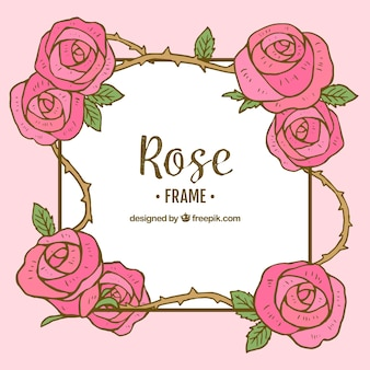 Hand-drawn frame of cute roses