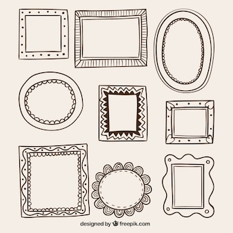 Hand drawn frames in retro style