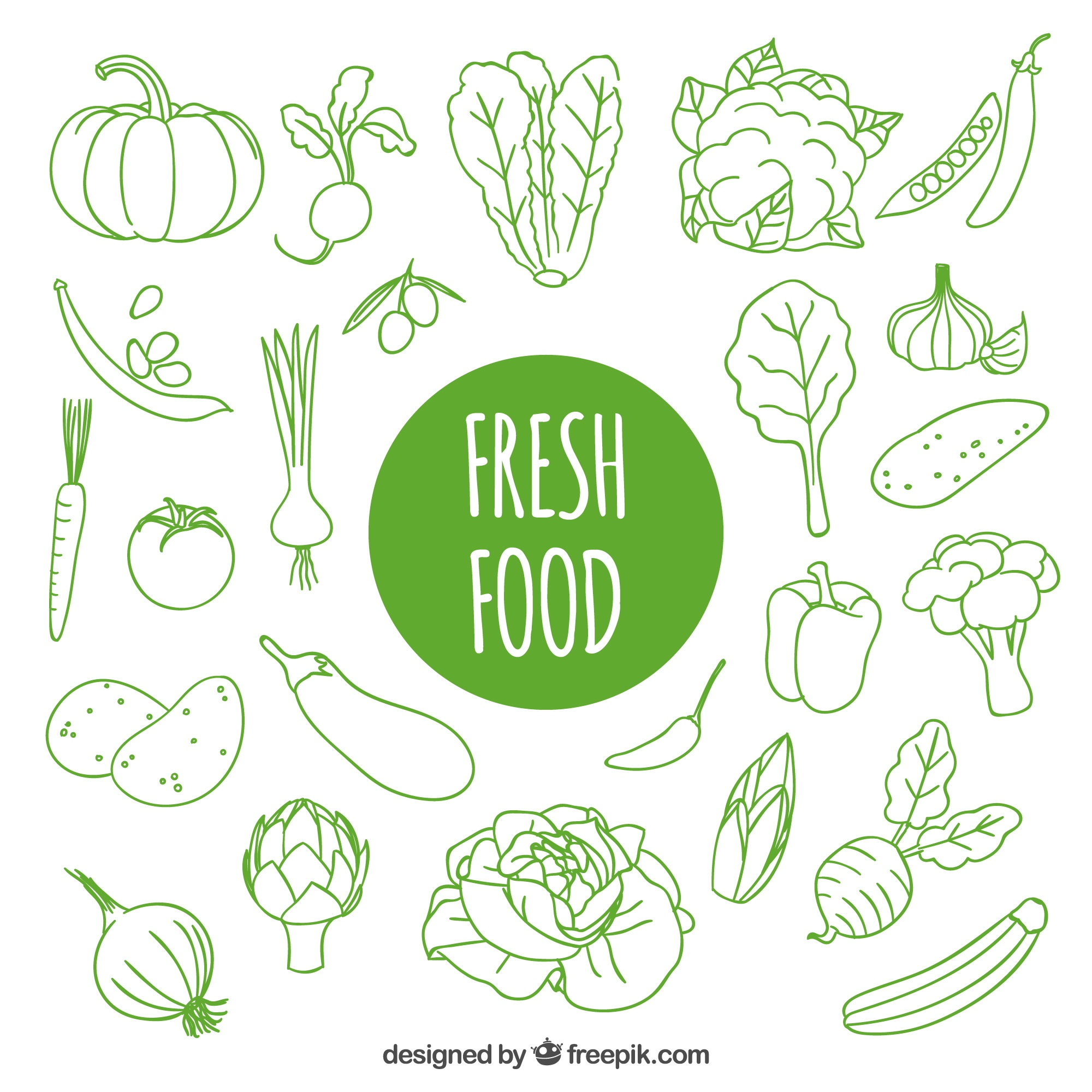 Hand drawn fresh food