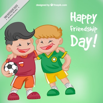 Hand drawn friends footballers cartoon background
