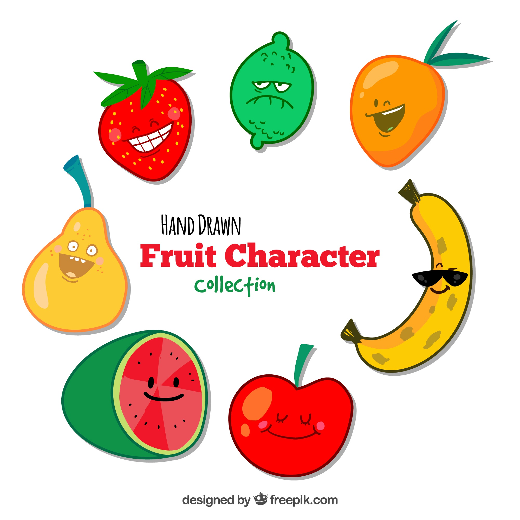 Hand drawn fruit character collection