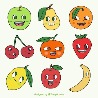 Hand drawn fruit characters collection